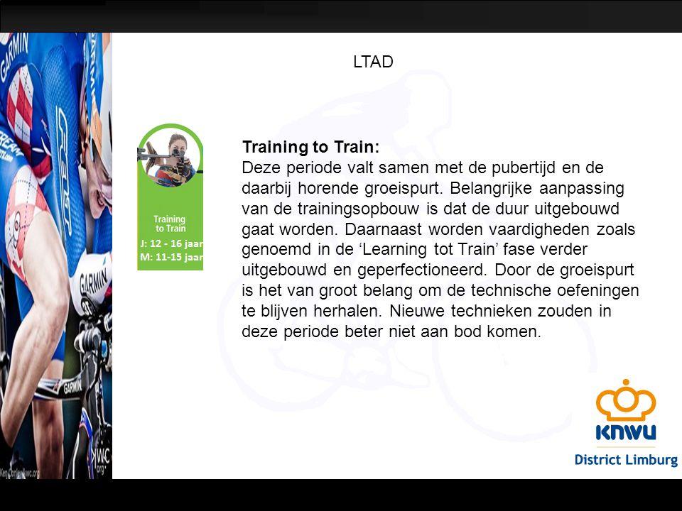 LTAD Training to Train: Deze periode valt samen met de pubertijd en de daarbij horende groeispurt. Belangrijke aanpassing van de trainingsopbouw is da