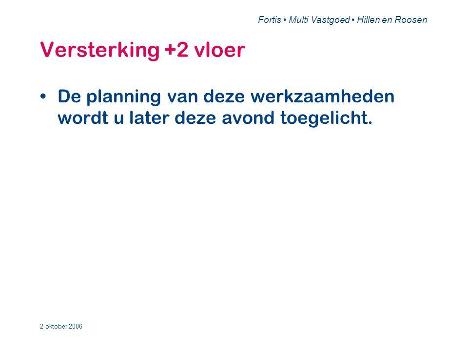 Fortis • Multi Vastgoed • Hillen en Roosen 2 oktober 2006 Versterking +2 vloer •De planning van deze werkzaamheden wordt u later deze avond toegelicht.