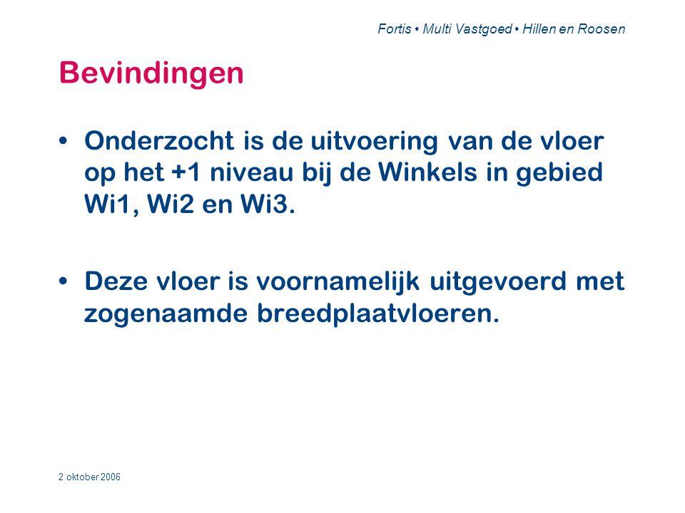 Fortis • Multi Vastgoed • Hillen en Roosen 2 oktober 2006 Bevindingen •Onderzocht is de uitvoering van de vloer op het +1 niveau bij de Winkels in gebied Wi1, Wi2 en Wi3.