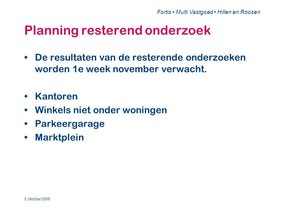 Fortis • Multi Vastgoed • Hillen en Roosen 2 oktober 2006 Planning resterend onderzoek •De resultaten van de resterende onderzoeken worden 1e week november verwacht.