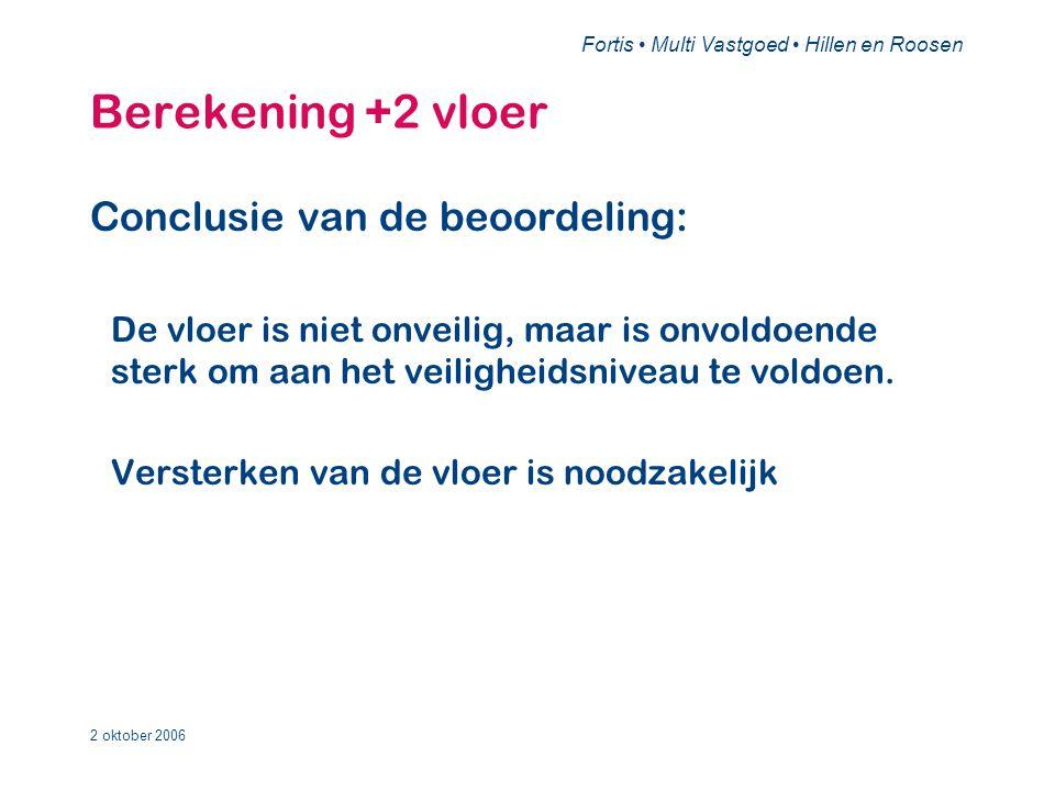 Fortis • Multi Vastgoed • Hillen en Roosen 2 oktober 2006 Bevindingen •Conclusie: –Voor de +1 vloer is, behoudens de eerder genoemde punten, geen verder onderzoek noodzakelijk.