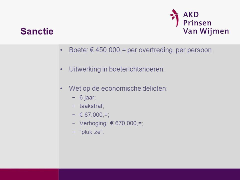 Sanctie •Boete: € 450.000,= per overtreding, per persoon. •Uitwerking in boeterichtsnoeren. •Wet op de economische delicten: −6 jaar; −taakstraf; −€ 6