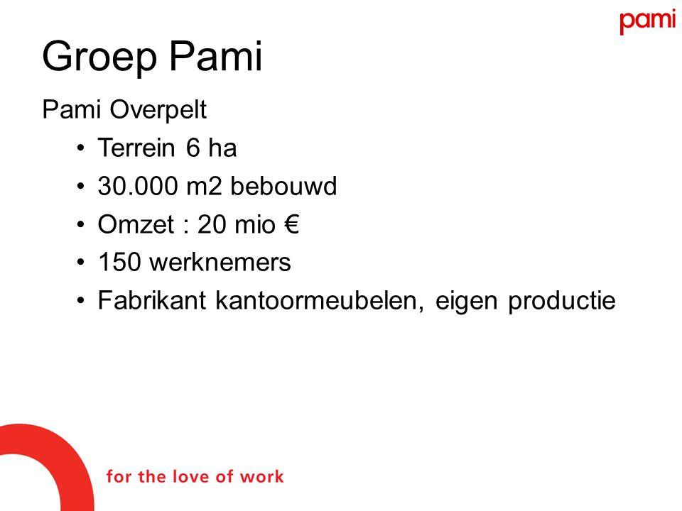 Groep Pami Pami Overpelt •Terrein 6 ha •30.000 m2 bebouwd •Omzet : 20 mio € •150 werknemers •Fabrikant kantoormeubelen, eigen productie