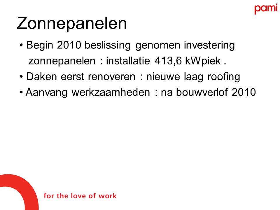 • Begin 2010 beslissing genomen investering zonnepanelen : installatie 413,6 kWpiek.