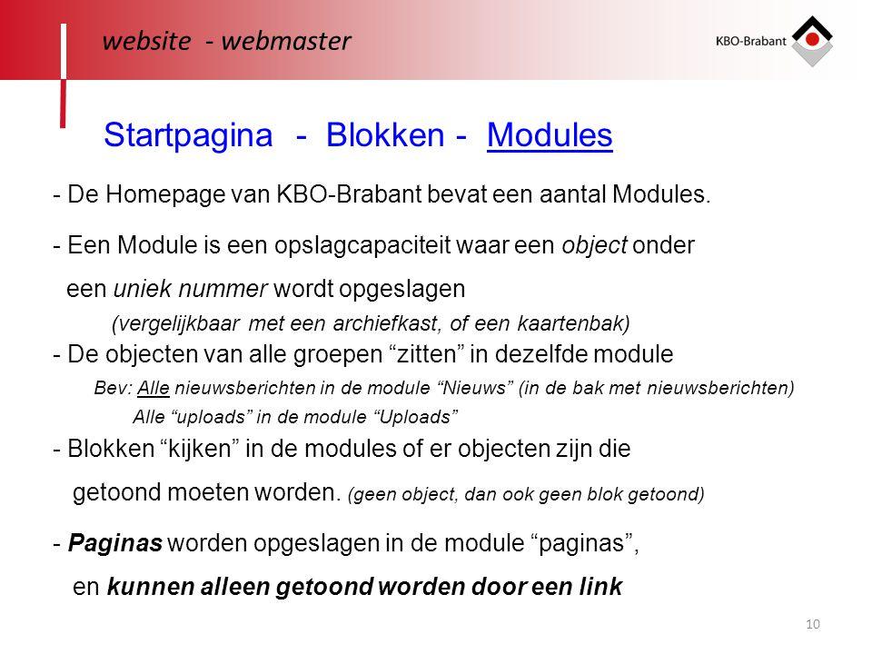 10 website - webmaster Startpagina - Blokken - Modules - De Homepage van KBO-Brabant bevat een aantal Modules. - Een Module is een opslagcapaciteit wa