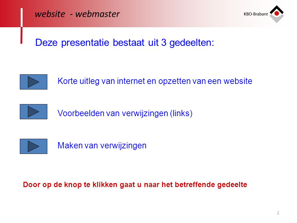 2 website - webmaster Deze presentatie bestaat uit 3 gedeelten: Korte uitleg van internet en opzetten van een website Voorbeelden van verwijzingen (li
