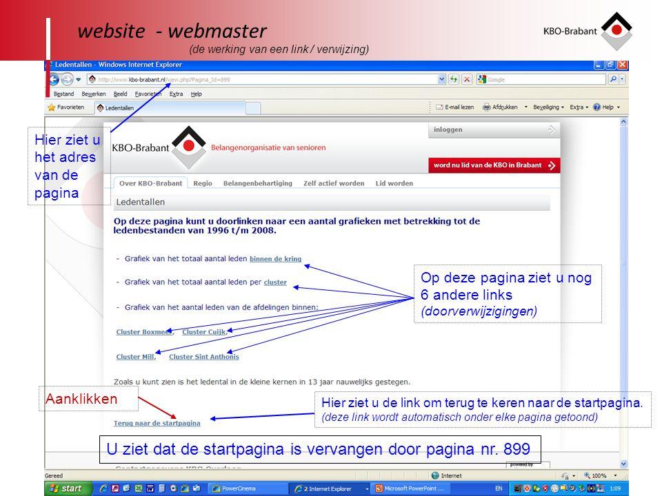 24 website - webmaster Hier ziet u het adres van de pagina U ziet dat de startpagina is vervangen door pagina nr. 899 Op deze pagina ziet u nog 6 ande