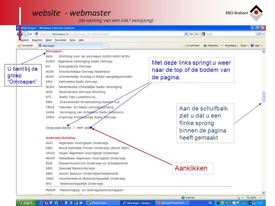 32 website - webmaster Aan de schuifbalk ziet u dat u een flinke sprong binnen de pagina heeft gemaakt Met deze links springt u weer naar de top of de