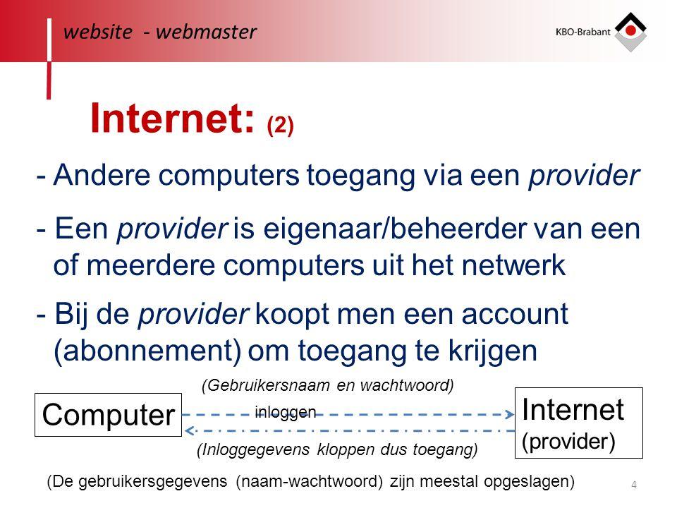 4 website - webmaster Internet: (2) - Andere computers toegang via een provider - Een provider is eigenaar/beheerder van een of meerdere computers uit
