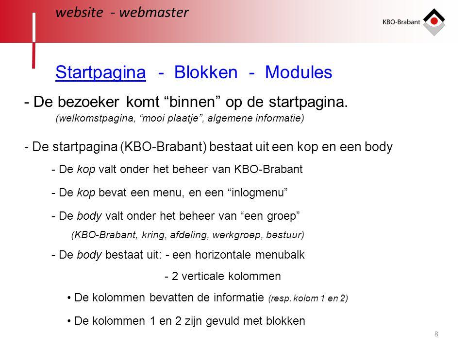 """8 website - webmaster Startpagina - Blokken - Modules - De bezoeker komt """"binnen"""" op de startpagina. - De startpagina (KBO-Brabant) bestaat uit een ko"""