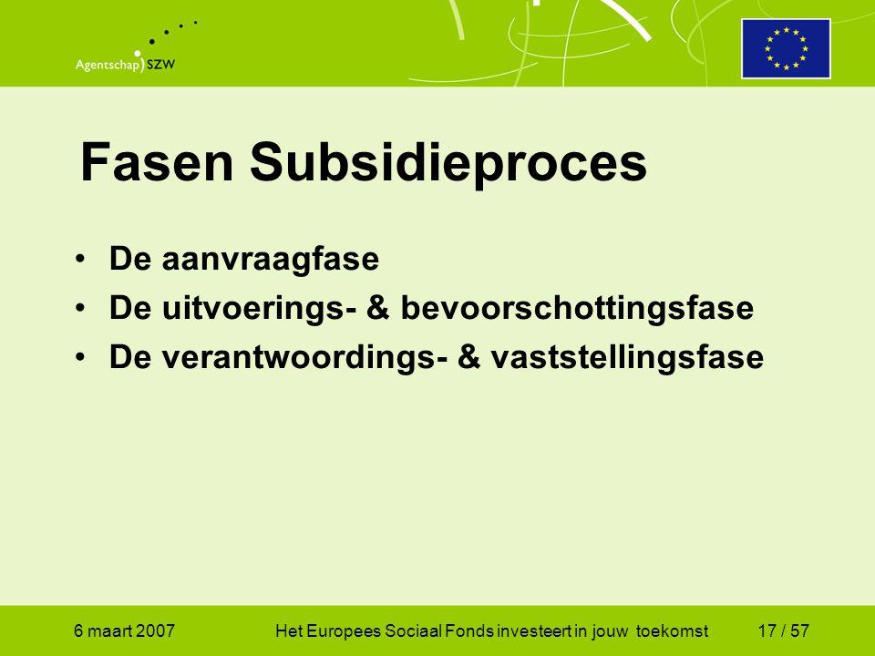 6 maart 2007Het Europees Sociaal Fonds investeert in jouw toekomst17 / 57 Fasen Subsidieproces •De aanvraagfase •De uitvoerings- & bevoorschottingsfase •De verantwoordings- & vaststellingsfase