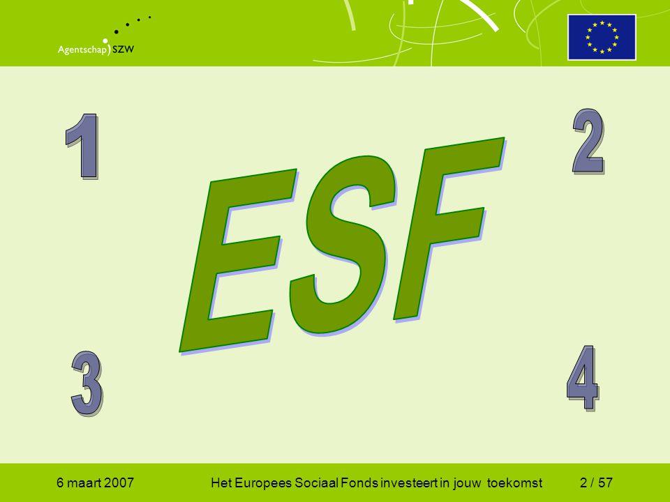 6 maart 2007Het Europees Sociaal Fonds investeert in jouw toekomst2 / 57