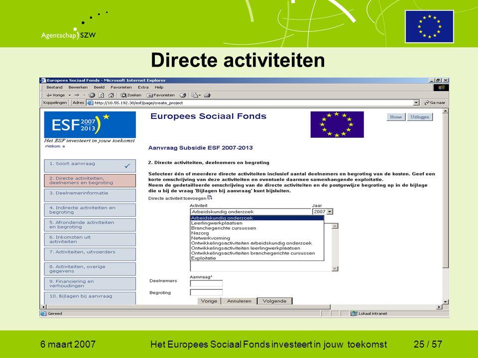 6 maart 2007Het Europees Sociaal Fonds investeert in jouw toekomst25 / 57 Directe activiteiten
