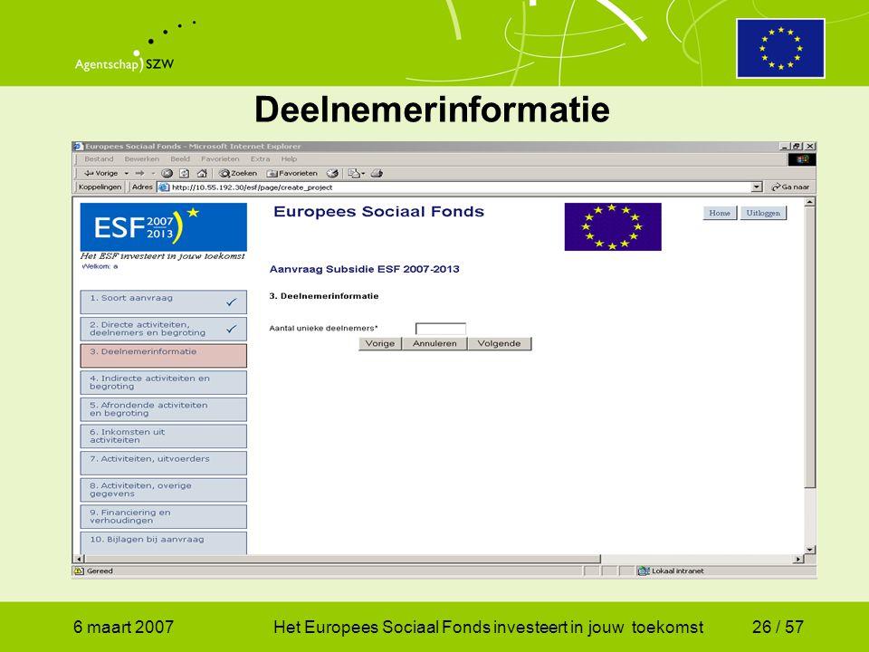 6 maart 2007Het Europees Sociaal Fonds investeert in jouw toekomst26 / 57 Deelnemerinformatie