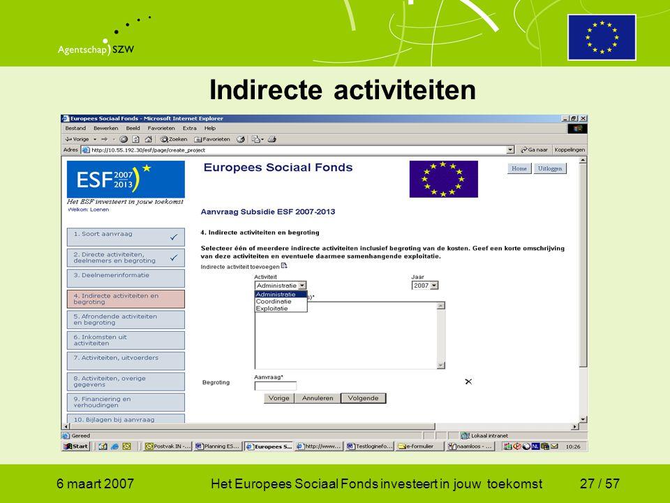 6 maart 2007Het Europees Sociaal Fonds investeert in jouw toekomst27 / 57 Indirecte activiteiten
