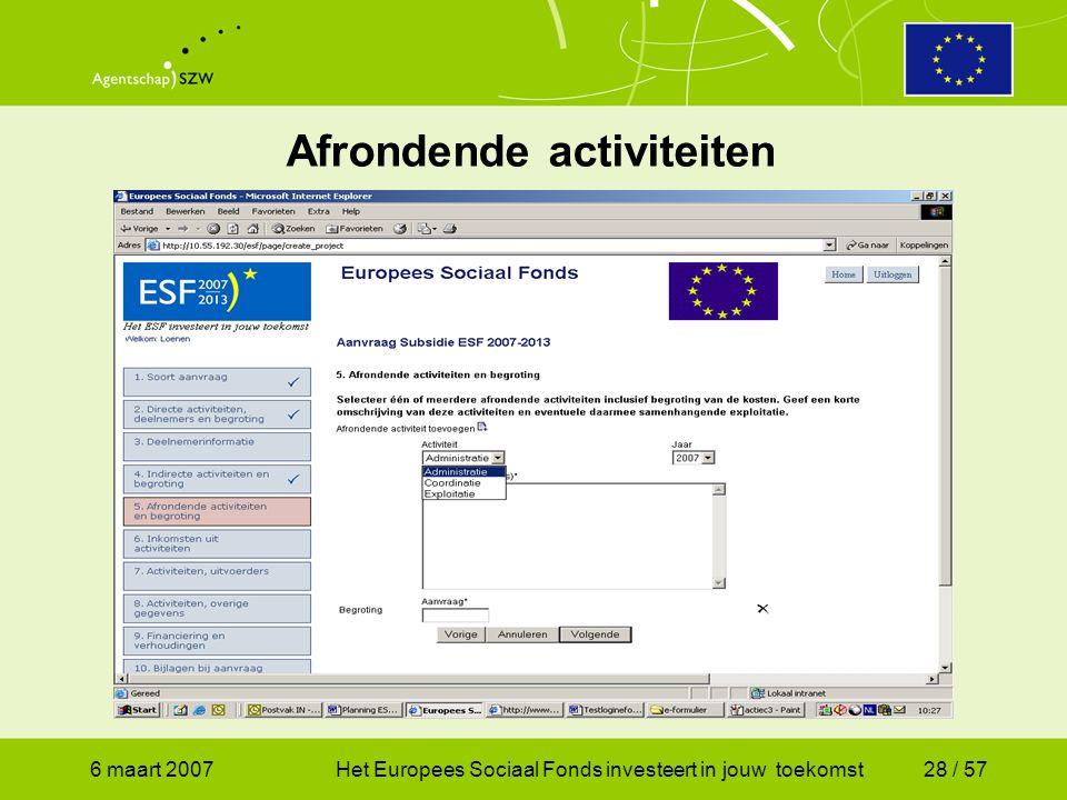 6 maart 2007Het Europees Sociaal Fonds investeert in jouw toekomst28 / 57 Afrondende activiteiten