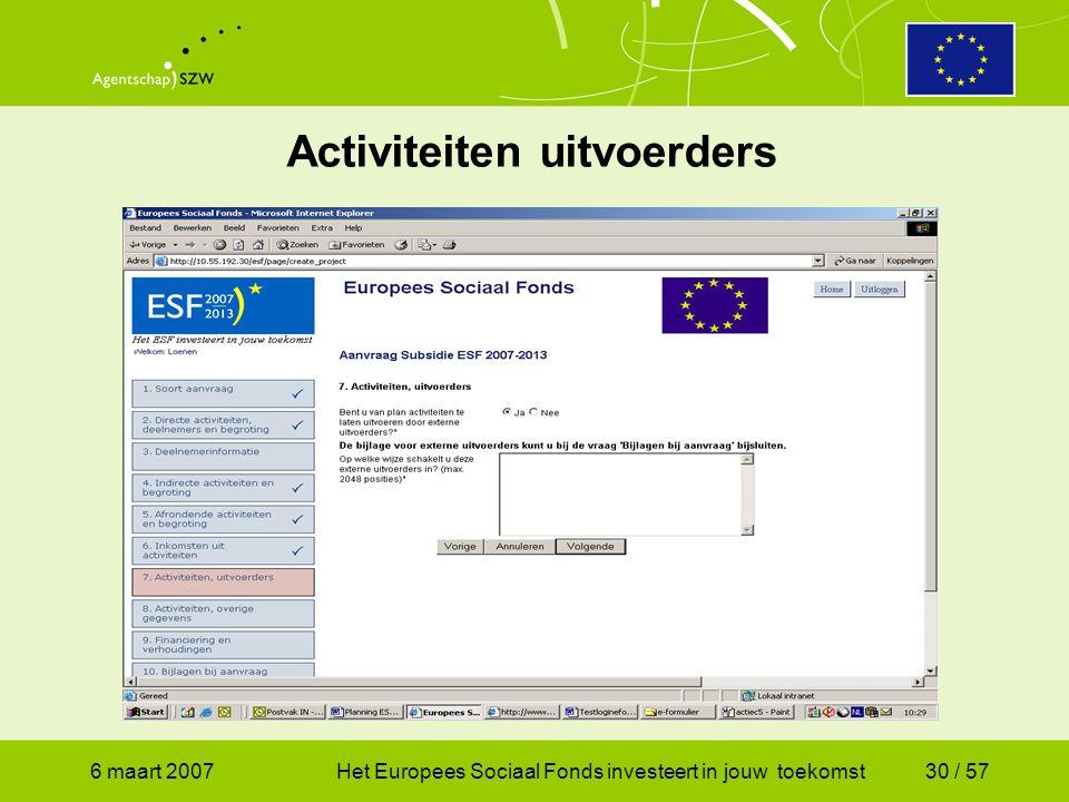 6 maart 2007Het Europees Sociaal Fonds investeert in jouw toekomst30 / 57 Activiteiten uitvoerders