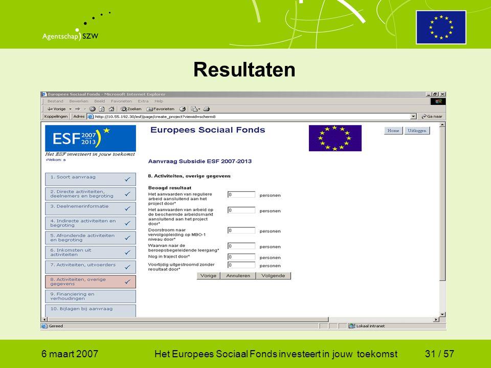 6 maart 2007Het Europees Sociaal Fonds investeert in jouw toekomst31 / 57 Resultaten