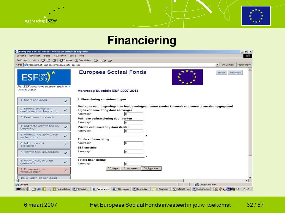 6 maart 2007Het Europees Sociaal Fonds investeert in jouw toekomst32 / 57 Financiering