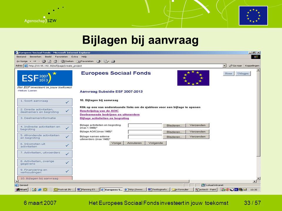 6 maart 2007Het Europees Sociaal Fonds investeert in jouw toekomst33 / 57 Bijlagen bij aanvraag