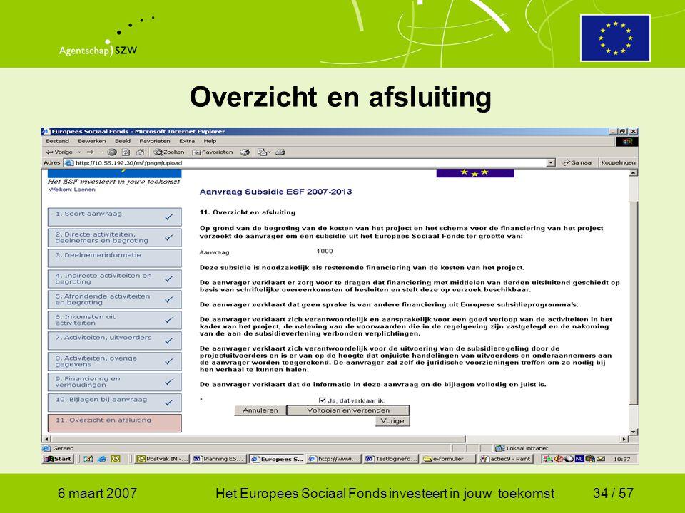 6 maart 2007Het Europees Sociaal Fonds investeert in jouw toekomst34 / 57 Overzicht en afsluiting