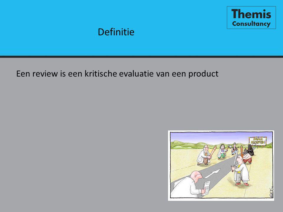Definitie Een review is een kritische evaluatie van een product