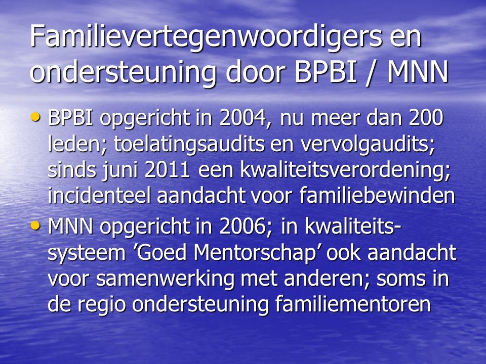 Familievertegenwoordigers en ondersteuning door BPBI / MNN • BPBI opgericht in 2004, nu meer dan 200 leden; toelatingsaudits en vervolgaudits; sinds j