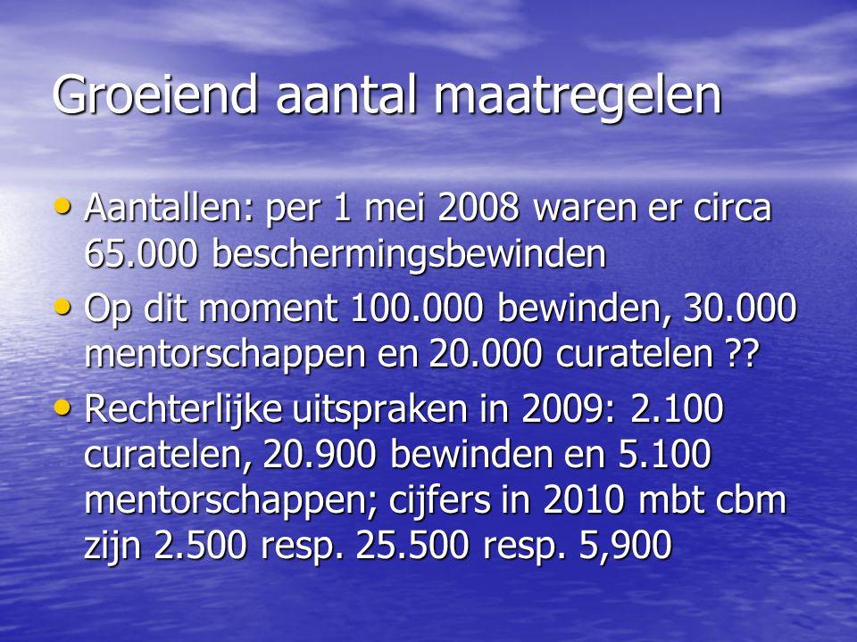 Groeiend aantal maatregelen • Aantallen: per 1 mei 2008 waren er circa 65.000 beschermingsbewinden • Op dit moment 100.000 bewinden, 30.000 mentorscha