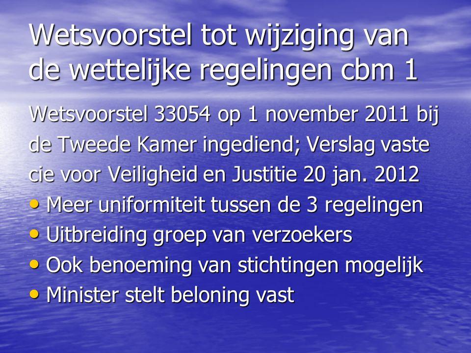 Wetsvoorstel tot wijziging van de wettelijke regelingen cbm 1 Wetsvoorstel 33054 op 1 november 2011 bij de Tweede Kamer ingediend; Verslag vaste cie v