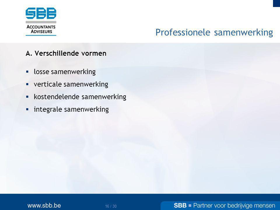 17 / 30 Professionele samenwerking B.