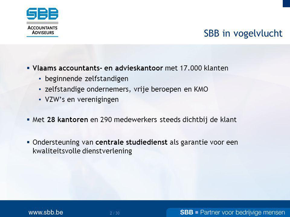 3 / 30 Dienstenaanbod  Onze diensten voor KMO s en zelfstandige ondernemers • accountancy • fiscaliteit • consulting • juridisch advies • milieuadvies