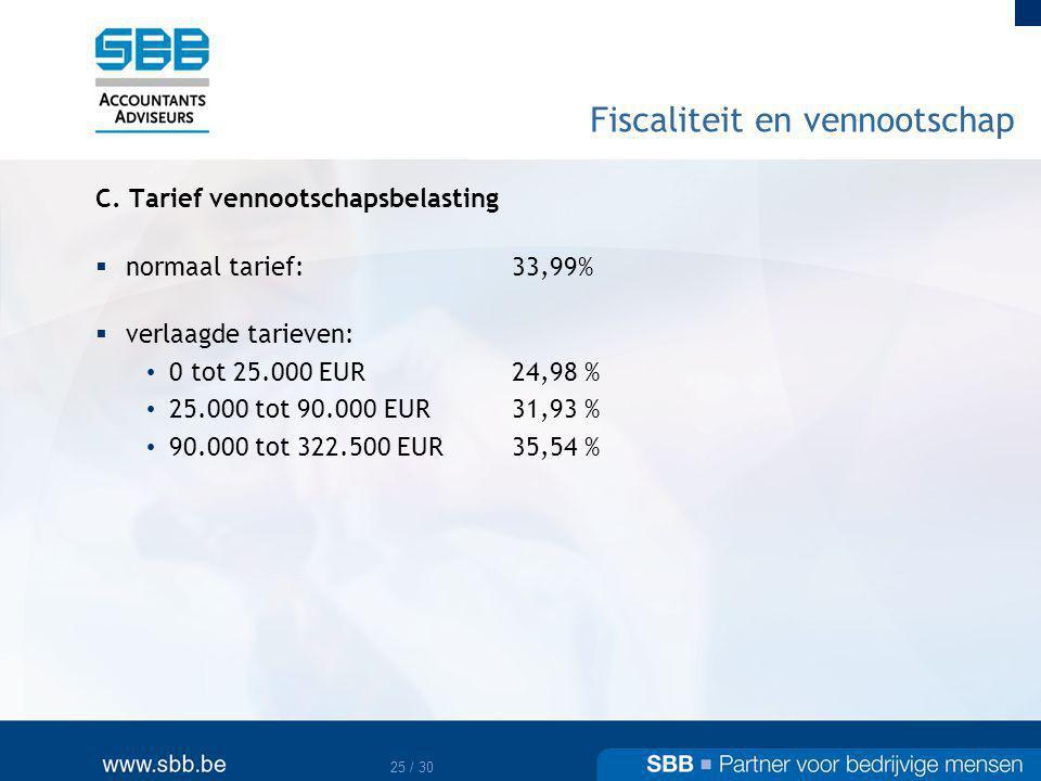 26 / 30 Fiscaliteit en vennootschap D.