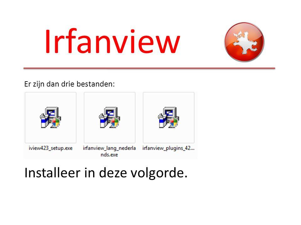 Irfanview Er zijn dan drie bestanden: Installeer in deze volgorde.