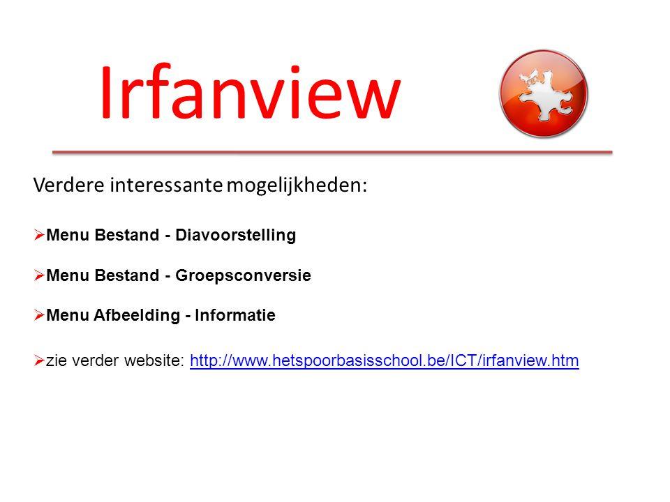 Irfanview Verdere interessante mogelijkheden:  Menu Bestand - Diavoorstelling  Menu Bestand - Groepsconversie  Menu Afbeelding - Informatie  zie v