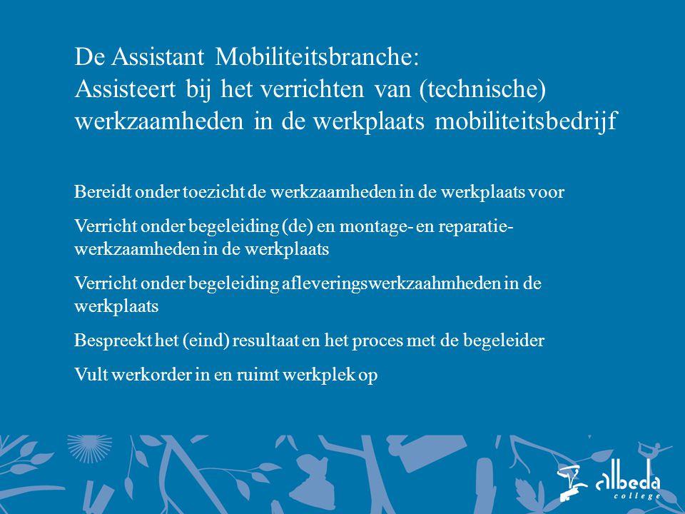 De Assistant Mobiliteitsbranche: Assisteert bij het verrichten van (technische) werkzaamheden in de werkplaats mobiliteitsbedrijf Bereidt onder toezic