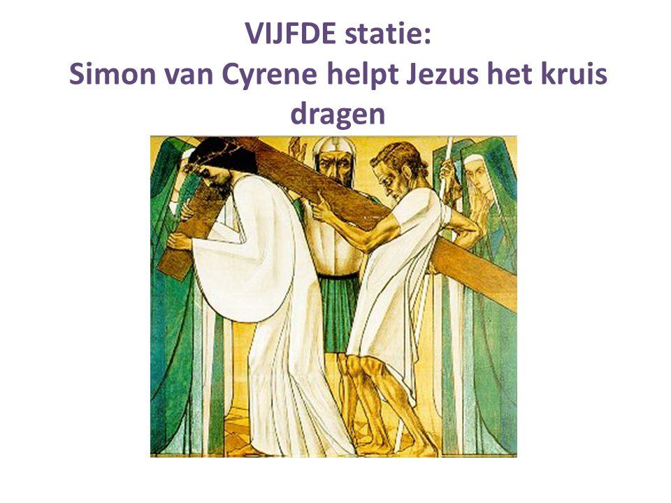 VIJFDE statie: Simon van Cyrene helpt Jezus het kruis dragen