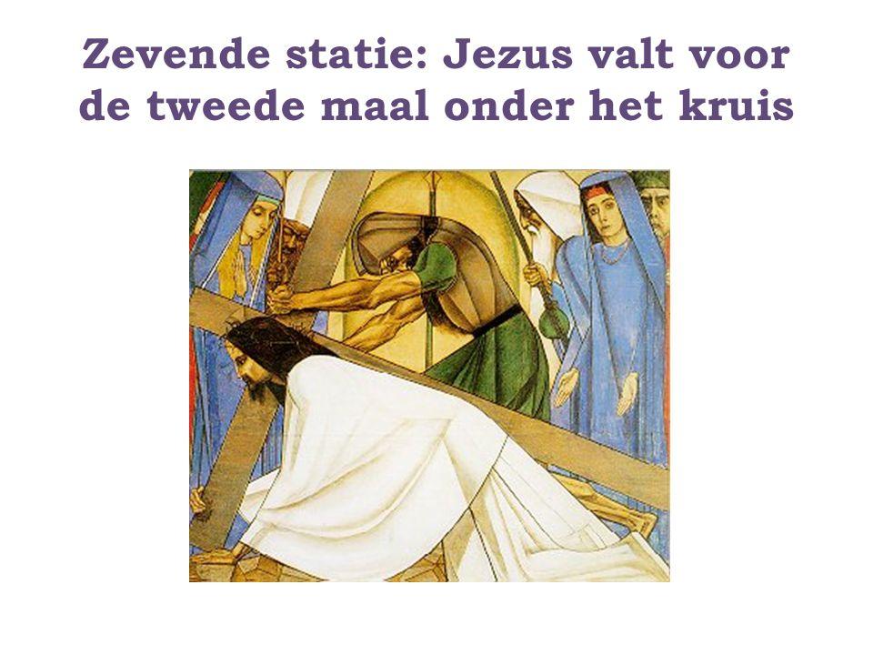 Zevende statie: Jezus valt voor de tweede maal onder het kruis