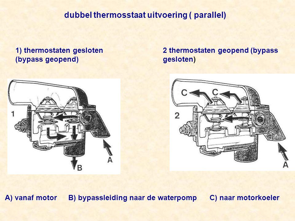 dubbel thermosstaat uitvoering ( parallel) 1) thermostaten gesloten (bypass geopend) 2 thermostaten geopend (bypass gesloten) A) vanaf motor B) bypassleiding naar de waterpomp C) naar motorkoeler