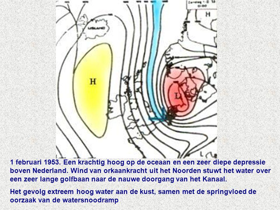 1 februari 1953.Een krachtig hoog op de oceaan en een zeer diepe depressie boven Nederland.