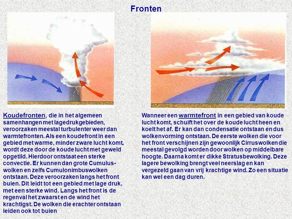 Fronten Wanneer een warmtefront in een gebied van koude lucht komt, schuift het over de koude lucht heen en koelt het af.