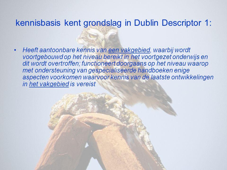 kennisbasis kent grondslag in Dublin Descriptor 1: •Heeft aantoonbare kennis van een vakgebied, waarbij wordt voortgebouwd op het niveau bereikt in he