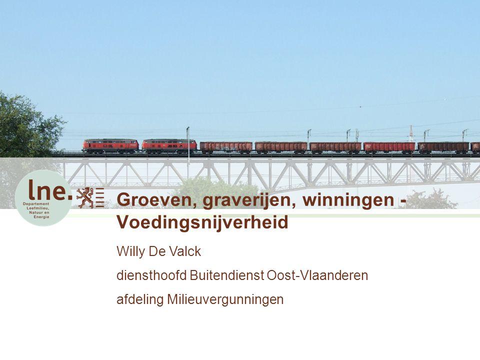 Groeven, graverijen, winningen - Voedingsnijverheid Willy De Valck diensthoofd Buitendienst Oost-Vlaanderen afdeling Milieuvergunningen