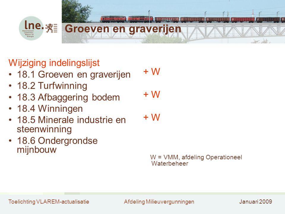 Toelichting VLAREM-actualisatieAfdeling MilieuvergunningenJanuari 2009 Groeven en graverijen Wijziging indelingslijst •18.1 Groeven en graverijen •18.