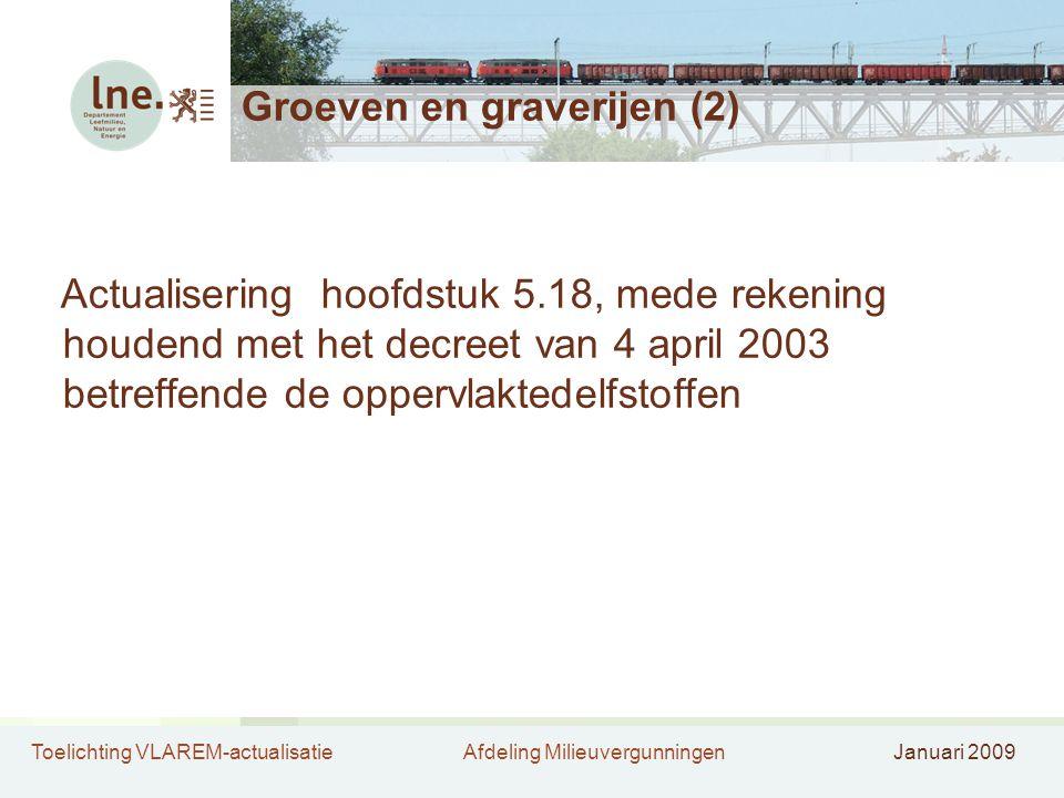 Toelichting VLAREM-actualisatieAfdeling MilieuvergunningenJanuari 2009 Groeven en graverijen (2) Actualisering hoofdstuk 5.18, mede rekening houdend m