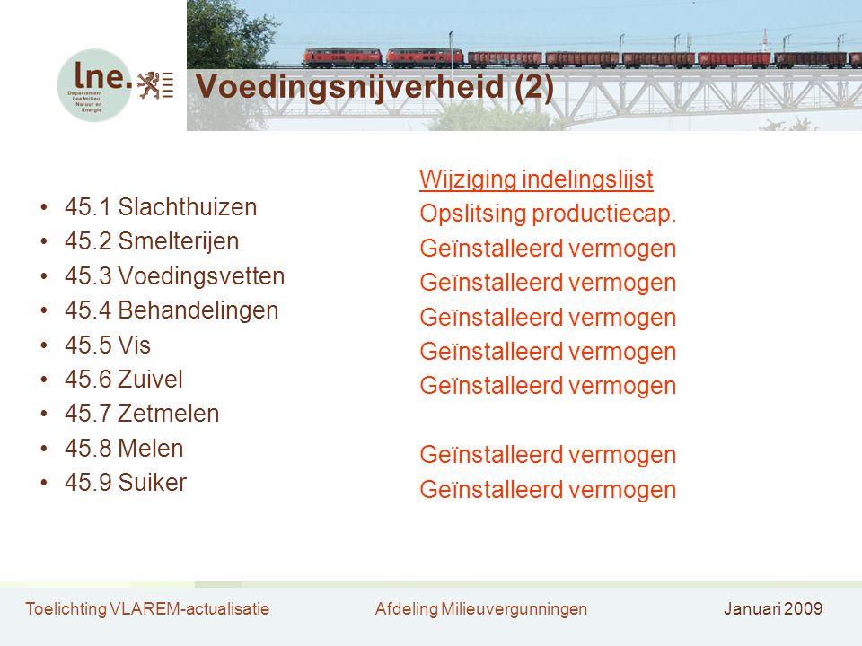 Toelichting VLAREM-actualisatieAfdeling MilieuvergunningenJanuari 2009 Voedingsnijverheid (2) •45.1 Slachthuizen •45.2 Smelterijen •45.3 Voedingsvette