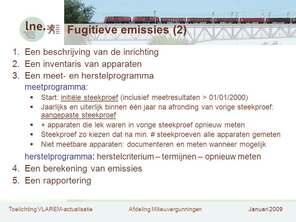 Toelichting VLAREM-actualisatieAfdeling MilieuvergunningenJanuari 2009 Fugitieve emissies (2) 1.Een beschrijving van de inrichting 2.Een inventaris va
