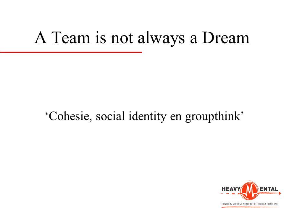 A Team is not always a Dream 'Cohesie, social identity en groupthink'