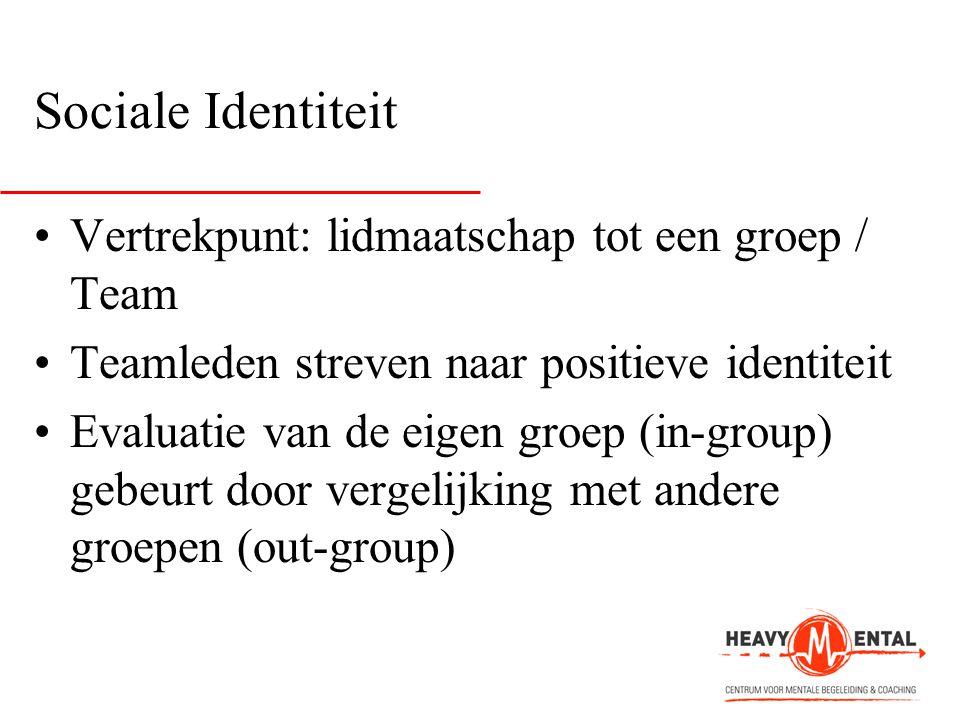 Sociale Identiteit •Vertrekpunt: lidmaatschap tot een groep / Team •Teamleden streven naar positieve identiteit •Evaluatie van de eigen groep (in-grou