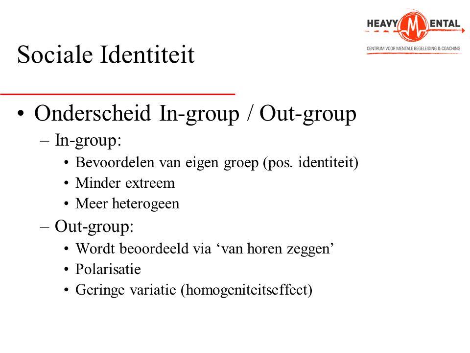 Sociale Identiteit •Onderscheid In-group / Out-group –In-group: •Bevoordelen van eigen groep (pos. identiteit) •Minder extreem •Meer heterogeen –Out-g