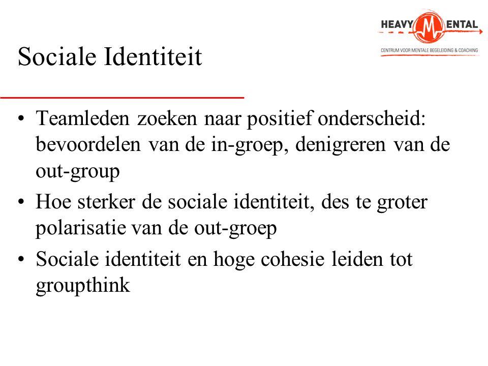 Sociale Identiteit •Teamleden zoeken naar positief onderscheid: bevoordelen van de in-groep, denigreren van de out-group •Hoe sterker de sociale ident